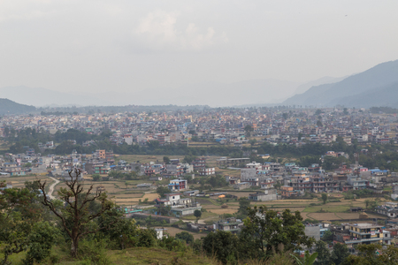 pokhara: Aerial view over the Nepalese city Pokhara.
