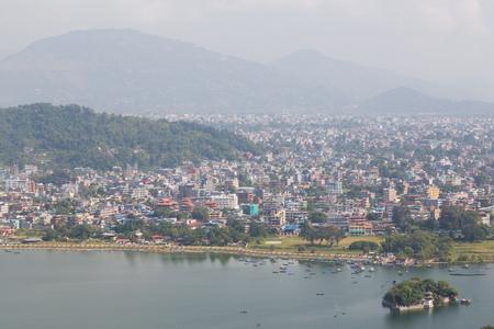 tal: Pokhara Lakeside and Fewa Tal view from the walkway towards the World Peace Pagoda.