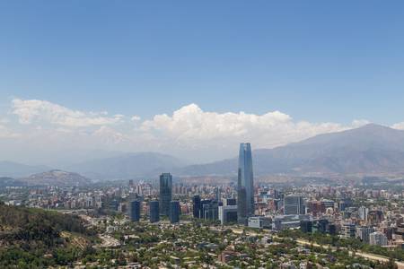Panoramic view of Santiago de Chile in South America. Stock Photo