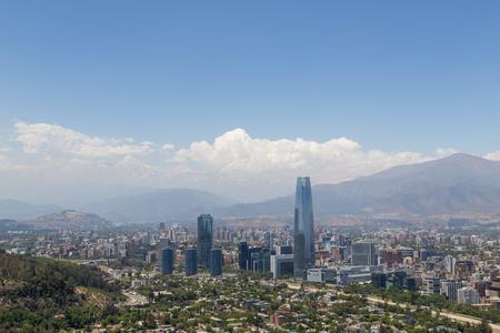 Panoramic view of Santiago de Chile in South America. Foto de archivo