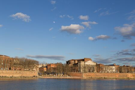 daurade: View over Garonne River in Toulouse in France with the Daurade church. Stock Photo