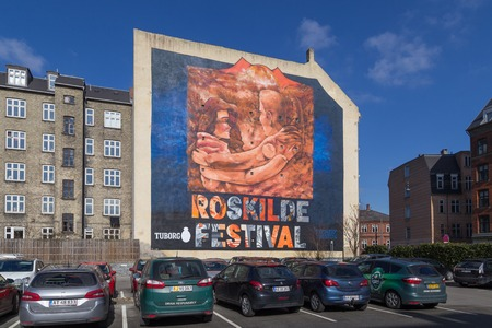epoxy: Copenhagen, Denmark - March 16, 2016: Huge Roskilde Festival Graffiti Mural by the artists Sofles, Epoxy, Soten and Tiws.