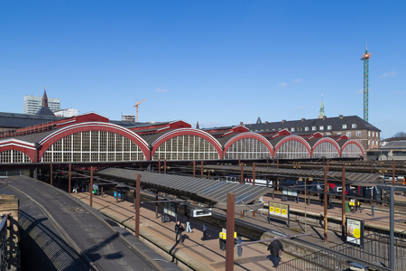 march 17: Copenhagen, Denmark - March 17, 2016: Central railway station from the backside. Editorial