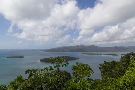 View of small islands of the Marovo Lagoon in Solomon Islands.