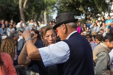 Kennedy: Lima, Peru - August 29, 2015: People at the public Saturday Salsa dancing event in Parque Kennedy in Miraflores district.