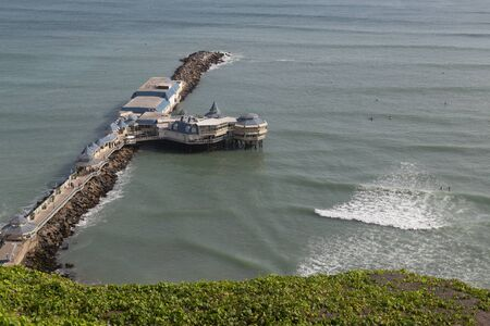 miraflores district: Lima, Peru - August 29, 2015: Photograph of the restaurant La Rosa Nautica on the coastline of the district Miraflores. Editorial