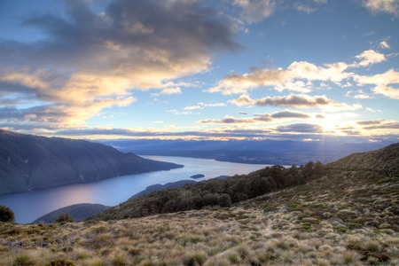 anau: Sunset over Lake Te Anau on the Kepler Track on the South island in New Zealand