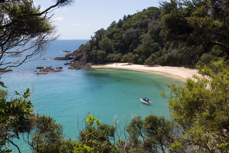 Whale Bay, New Zealand - February 16, 2015: Whale Bay at the Tutukaka coast on the North island. Stock Photo