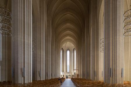 interior shot: Copenhagen, Denmark - April 09, 2016: Interior shot of Grundtvigs Church.