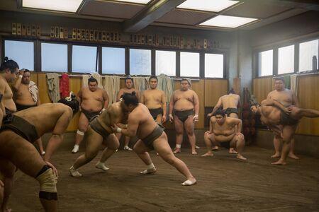 december 21: Tokyo, Japan - December 21, 2014: Japanese sumo wrestler training in their stall in Ryogoku district.