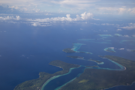 Aerial view photograph of small islands in the Solomon Islands. Stock Photo