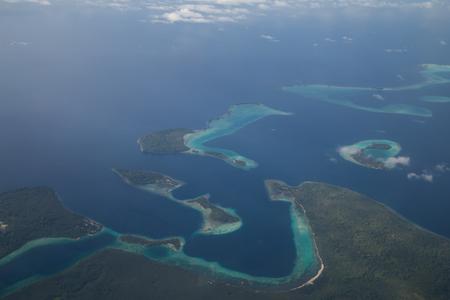 solomon: Aerial view photograph of small islands in the Solomon Islands. Stock Photo