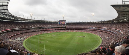 afl: Melbourne, Australia - April 25, 2015: Panoramic view of Melbourne Cricket Ground on ANZAC Day 2015 Editorial