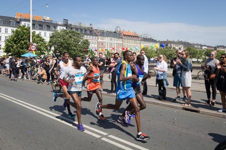 yearly: Copenhagen, Denmark - May 22, 2016: Runners at the yearly event Copenhagen Marathon.