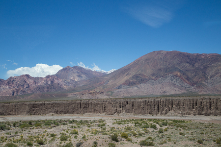 ruta: Landscape along National Route 7 through Andes moutain range close to the border in Argentina. Stock Photo