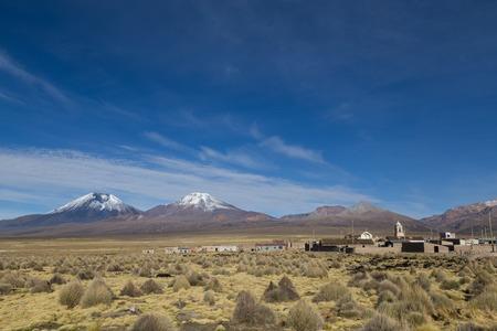 nevado: Sajama village with volcanos in the background in Bolivia.