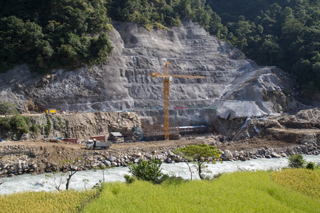 hydropower: Bhulbhule, Nepal - October 23, 2014: Construction site of the Upper Marsyangdi Hydropower Project in the Annapurna Region