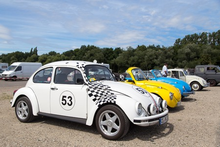 meetup: Celle, Germany - August 7, 2016: Several Volkswagen Kaefer at the annual Kaefer Meeting Editorial