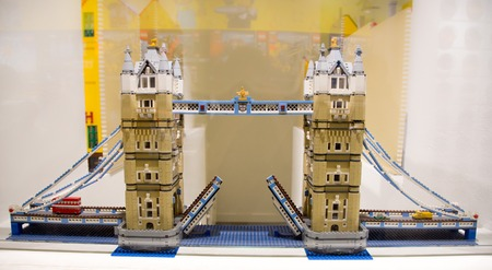 Copenhagen, Denmark - August 19, 2016: Model of the Lodon Bridge in the showroom of the Lego store