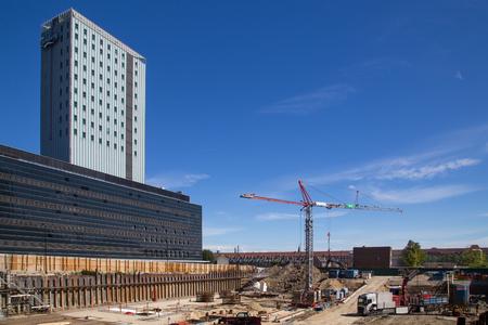 Copenhagen, Denmark - August 17, 2016:  Construction site in the Carlsberg district Editorial