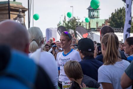 patrik: Copenhagen, Denmark - August 21, 2016: A happy Patrik Nilsson just after winning the KMD Ironman Copenhagen 2016 in only 07:49:18 Editorial