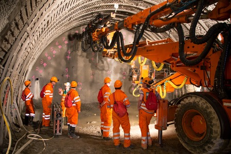 tunneling: Geneva, Switzerland - May 22, 2014: Construction of piperoof grouting for tunnel construction