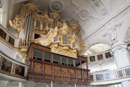 pipe organ: Celle, Germany - April 19, 2014: The pipe organ inside the town church
