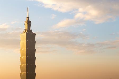 Taipei, Taiwan - January 5, 2015: Close up of Taipei 101 tower sunset