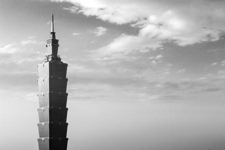 Taipei, Taiwan - January 5, 2015: Close up of Taipei 101 tower in black and white Editorial