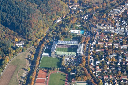 freiburg: Freiburg, Germany - October 22, 2016: Aerial view of the soccer stadium on a match day Editorial