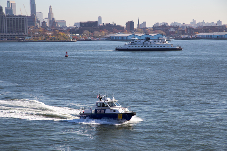 New York, United States of America - November 18, 2016: A New York City Police Department boat patrolling in the East River Editorial