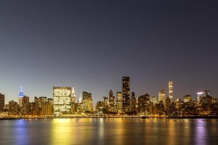 Skyline of midtown Manhattan in New York by night