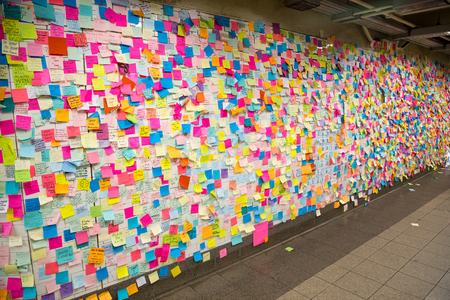 Sticky post-it notes in NYC metrostation