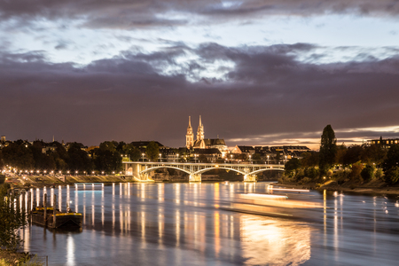 Night view of Rhine River with Basel Minster