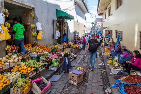 Fruit market in the steets of Cusco, Peru