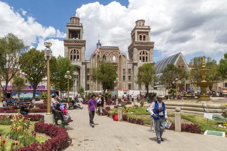 Plaza de armas in Huaraz, Peru Editorial