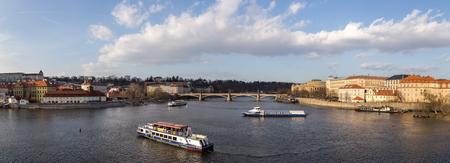 Panoramic view over Vltava River, Prague Editorial
