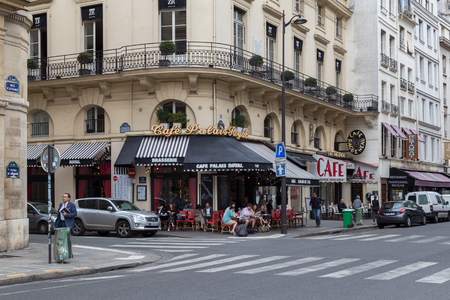 Street with Cafes in Paris Editorial