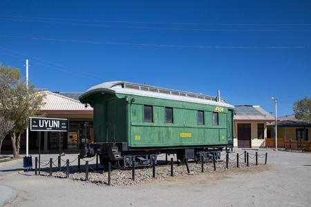 Wagon in front of Uyuni Train Station Editorial