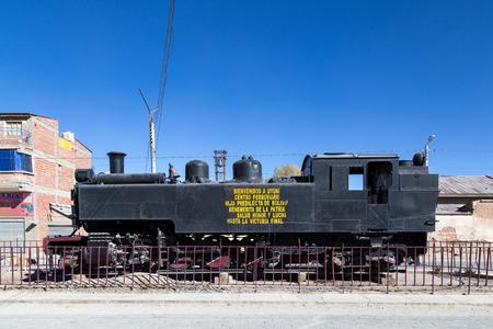 Old Steam Train Locomotive in Uyuni, Bolivia Editorial