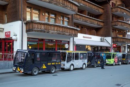 Electric taxis in Zermatt, Switzerland Editorial