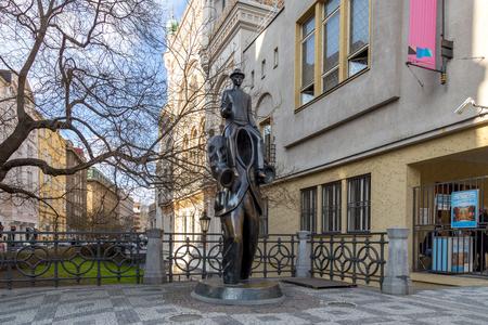 Franz Kafka statue in Prague Editorial