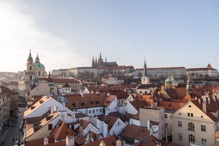 Prague castle and rooftop view Editorial