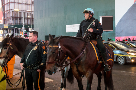 NYC Police officers on horseback Editorial