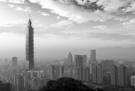 Taipei city skyline black and white