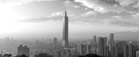Taipei city skyline panorama black and white Editorial