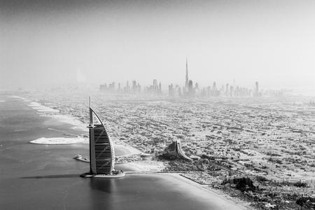 Burj Al Arab aerial view black and white