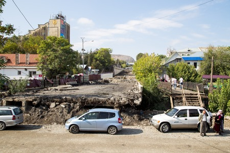 Unfinished road in Osh, Kyrgyzstan Editorial
