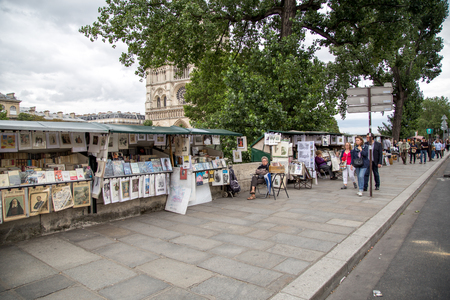 Painting Stalls at River Seine, Paris Editorial