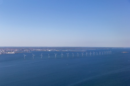 Offshore Wind Power Plants in Copenhagen, Denmark Stock Photo